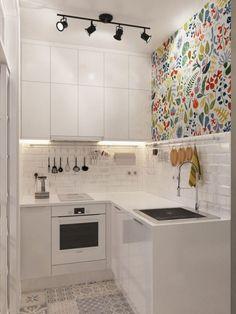 Small Apartment Kitchen, Small Space Kitchen, Home Decor Kitchen, Home Kitchens, Kitchen Ideas, Small Spaces, Tiny Kitchens, Micro Apartment, Condo Kitchen