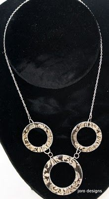 Jewelry made from washers, and modge podge, with decorative backgrounds...