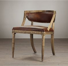 Swedish Demi-Lune Leather Chair