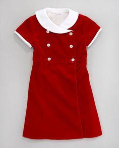 Oscar de la Renta /Double-Breasted Velvet Dress