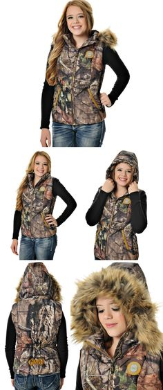 Girls With Guns Clothing Mossy Oak Country Fur Vest with Removable Hood & Fur - Gold Detail GWG