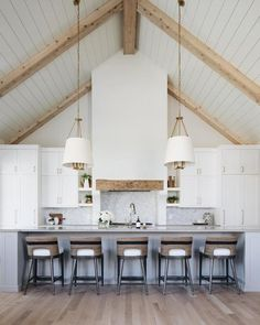 Vaulted Ceiling Kitchen, Vaulted Ceiling Lighting, Vaulted Ceilings, Vaulted Ceiling With Beams, Kitchen With High Ceilings, Open Ceiling, Wood Ceilings, Bright Decor, Bright Rooms