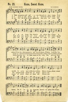 antique sheet music | FREE Vintage Music Sheet ~ Home Sweet Home | Old Design Shop Blog
