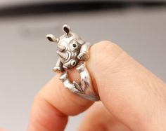 Rhino Rhinoceros Adjustable Musso Animal Rings,  Ring Women's Teen's Retro Burnished Jewelry Black Crystal Wrap Ring