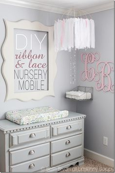 DIY Baby Nursery Mobile made from Ribbon and Lace | Unskinny Boppy