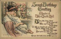 SECOND BIRTHDAY A/S CM Burd Mother w Child c1910 Postcard