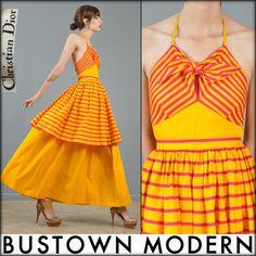 vtg 70s CHRISTIAN DIOR graphic striped tiered skirt top full MAXI DRESS S #vegan