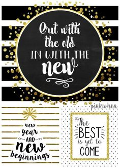 Happy New Year! Ring in the New year with THREE free printables! Black and White… Advertisements Happy New Year! Ring in the New year with THREE free printables! Black and White and Gold Free Printables New Year Printables, Christmas Printables, Free Printables, Party Printables, Quotes About New Year, Year Quotes, Deco Nouvel An, New Year's Eve 2019, New Years Shirts