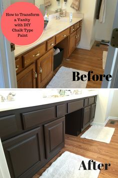 Before and after of bathroom vanity makeover by the bearded iris using annie sloan chalk paint for What kind of paint to use in a bathroom