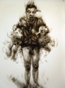 Diane Victor - Shepherd (Sheepish) Medium: Candle smoke and charcoal on board. Art Syllabus, South African Artists, Elements Of Art, Beautiful Drawings, Mark Making, Figure Painting, Mixed Media Art, Art Photography, Gender Issues