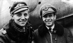 Asisbiz Aircrew Luftwaffe pilots Erich Hartmann and Laszlo Pottyondy Budaors Budapest Nov Luftwaffe, Erich Hartmann, Germany Ww2, Ww2 History, Fighter Pilot, Second World, New Engine, World War Ii, Wwii