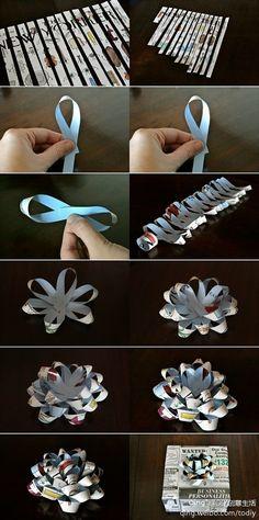 礼物礼盒包装花朵 the pictures show how to make a paper ribbon for gifts