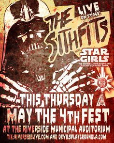 TOMORROW NIGHT! May the 4th Fest in Riverside w/ The Sithfits AND Star Girls Burlesque LIVE ON STAGE! #Sithfits #TheSithfits #SithfitsBand #PunkRockFromTheDarkSide #JimmyPsycho #StarGirls #Burlesque #StripTease #CourtneyCruz #May4th #StarWarsDay #mancinasART