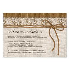 Rustic Wedding Insert Card, Wedding Accommodation