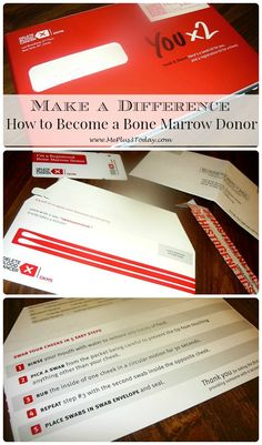 How to become a bone marrow donor - Act of Kindness Idea - Learn how you can make a difference and extend or save someone's life today! - www.MePlus3Today.com
