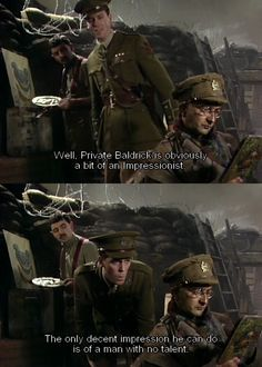 Blackadder Goes Forth is the fourth and final series of the BBC sitcom Blackadder The series placed the recurring characters of Blackadder, Baldrick and British Tv Comedies, British Comedy, English Comedy, Comedy Series, Comedy Tv, Blackadder Quotes, Funny Images, Funny Pictures, British Memes