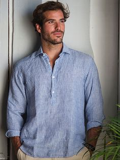 The SARDEGNA stripes linen polera shirt provides a very fresh look with its half-button. Island Clothing, Island Outfit, Tuxedo For Men, Flower Shirt, S Man, Striped Linen, Summer Shirts, Summer Wear, Menswear