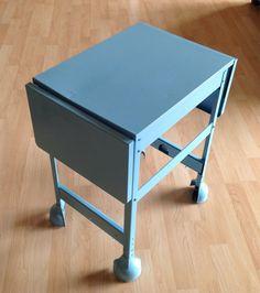 $161.67 Vintage industrial repainted aqua metal typewriter stand table