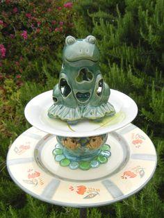 Bird Feeder, Repurposed Garden Art, Garden Whimsy, Garden Totem,  Decorative Birdfeeder, Garden Stake – Frog Garden by PreciousNPretty on Etsy