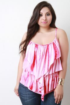 Description This  plus size top  features a tie dye jersey knit fabrication, spaghetti shoulder straps, scoop neckline and back, tiered ruffles at front, and asymmetrical hemline. Accessories sold separately. Made in U.S.A. 95% Rayon, 5% Spandex.  Measurement     Size  Bust  Hem  Ft. Lth.  Bk.Lth.      1X  18.5  21  29  23      2X  19  21.5  29.75  23.75      3X  19.5  22  30.5  24.5     | Shop this product here: spree.to/acy8 | Shop all of our products at http://spreesy.com/Diva_styles…