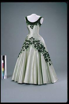 """""""Maple Leaf of Canada"""" dress worn by Queen Elizabeth II, 1957 England"""