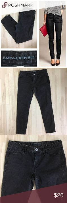 "Banana Republic Black Wash Skinny Jeans (size 29) - 29"" waist - 35.5"" length - 80% cotton - 18% polyester - 2% spandex Banana Republic Jeans Skinny"