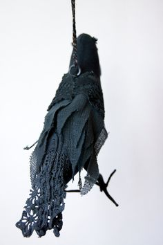 Fabric Bird / Vintage Wool/  Vintage Lace / Crow by BlueTerracotta, €55.00