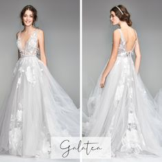Editors' Picks: Willowby by Watters Wedding Dresses Tulle wedding dress with flowers Western Wedding Dresses, Wedding Dresses With Flowers, A Line Prom Dresses, Bohemian Wedding Dresses, Tulle Wedding, Flower Dresses, Wedding Dress Styles, Wedding Bride, Bridal Dresses