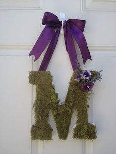 Spring Moss Monogram Door Decor
