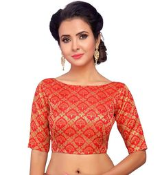 Extra Off Coupon So Cheap Red Readymade Brocade Jhumka Silk Blouse Saree Choli Sari Tunic Top Wedding Wear Latest Blouse Neck Designs, Simple Blouse Designs, Bridal Blouse Designs, Brocade Blouse Designs, Jhumka Designs, Fancy Sarees, Saree Blouse, Tunic Tops, Boat Neck
