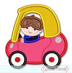 Boy in Little Coupe Car Applique - $2.40