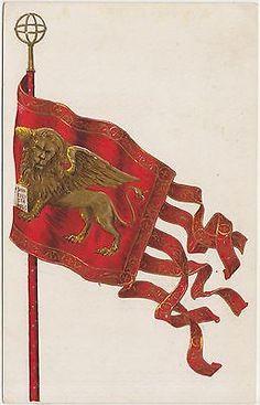 Venezia - Bandiera Con Leone Di San Marco Santa Lucia, Renaissance, Last Dream, Lion Illustration, Lion Logo, Flag Art, Most Beautiful Cities, Vintage Travel Posters, European Travel