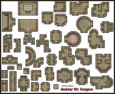 Heroic Maps - Modular Kit: Dungeon - Heroic Maps | Caverns & Tunnels | Dungeons | Tombs | Modular Kits | DriveThruRPG.com
