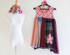 XL Boho dress Upcycled Repurposed Tunic Dress Raw Tattered clothing Eco Eclectic Lagenlook Gypsy Shabby plaid farmgirl dress by SaidoniaEco