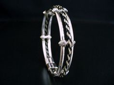 Art Deco Bracelet inlaid with plaited horse hair in sterling silver