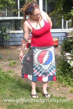 Grateful Dead Patchy Goodness T Skirt Fare Thee Well Furthur Patchwork Skirt Jerry Garcia by gr8fuldreadgrrl, $55.00