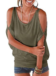 e2a852527e9a1e Ranphee Army Green Summer T Shirt Women Short Sleeve Cold Shoulder Loose  Fit Pullover Casual Top