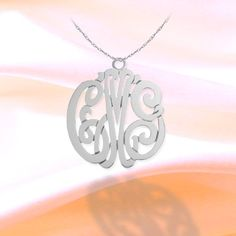 Monogram Necklace 1 inch Sterling Silver Handcrafted Cutout Personalized Initial Necklace - Made in USA - jewelry arcade for beginners meme Sterling Silver Monogram Necklace, Monogram Jewelry, Monogram Gifts, Personalized Jewelry, Custom Jewelry, Silver Jewelry, Tear, Gifts For Her, Arcade