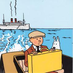 The Broken Ear • Tintin and Snowy in a boat • sailing ship high seas • riawati