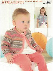 New Knitting Patterns - Sirdar Snuggly Baby Crofter DK 4633: Cardigan Knit Pattern