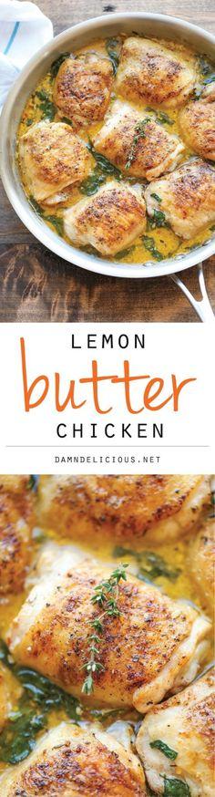 Chicken Recipes - Lemon Butter Chicken - Easy Crisp-Tender Chicken in Creamy Lemon Butter Sauce Recipe via Damn Delicious #chickenrecipes #popularchickenrecipes #chicken #easychickenrecipes #chickenbreastrecipes #easylunches #easydinners