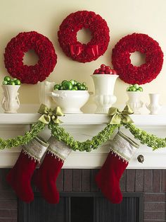 Live flowers elevate this look above typical Christmas wreath ideas. A punch of color, plus the texture from the carnations make these wreaths showstoppers: http://www.bhg.com/christmas/holiday-ideas/?socsrc=bhgpin111814christmascarnationwreaths&page=26
