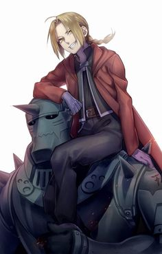 Anime picture 1181x1850 with  fullmetal alchemist studio bones edward elric alphonse elric tayuya1130 long hair tall image open mouth blonde hair smile simple background white sitting yellow eyes ahoge open clothes braid (braids) teeth multiple boys arm support