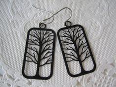 Black Silhouette Tree Earrings Winter Birch Tree Branch