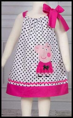 """Best Images about Peppa Pig Birthday Party"", ""NEW Super Cute Posh Peppa Pig applique von LilBitofWhimsyC Toddler Dress, Baby Dress, Toddler Girl, Dot Dress, Casual Dress Outfits, Kids Outfits, Fashion Kids, Peppa Pig Dress, Baby Frocks Designs"