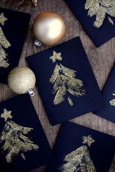 Karten zu Weihnachten basteln l Tannenbaum Glitzer l DIY Glitter Christmas cards