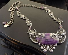 Silver Victorian Necklace, Purple Statement Jewelry, Victorian Statement Jewelry, Purple Natural Stone Necklace, Purple Charoite Necklace by KarenTylerDesigns on Etsy