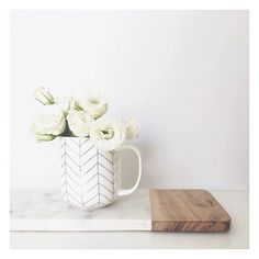 "The Bargain Diaries on Instagram: ""What do you do with a pretty mug when you don't drink tea or coffee... Style it as a vase! How sweet is this $3 mug from @kmartaus... It's super big as well, so it would be perfect for those hot chocolates in winter 😍. Also pictured is the $15 marble and wood long board. #kmartaus #kmart #kmartstyling #thebargaindiaries"""