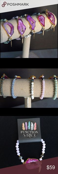 """Druze & gemstone bracelet Gorgeous gold plated Druzy pendant stretch bracelets with natural stone beads. Finished with Function & Fring's signature gold plated feather. Vibrant colors w/ 3 different gemstones: (last 3 in 2nd 📸)                                                               Pink faceted crystal, white turquoise and Amazonite-(stone meaning is truth, honor, integrity, hope and trust.)  🚫PayPal/trades. Reasonable offers will be considered. Please use the """"offer"""" button…"""