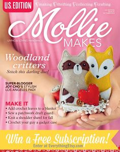 Mollie Makes Magazine Subscription Giveaway! You don't want to miss this!  #diy #molliemakes #giveaway